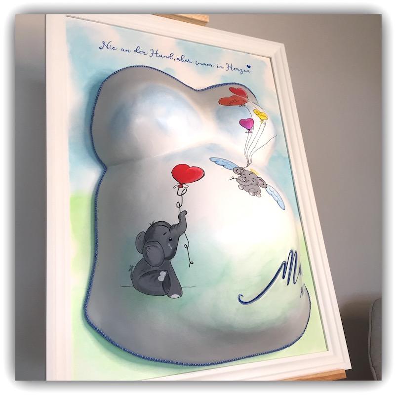 veredelter Gipsabdruck vom Babybauch Sternenkind Matteo aus Erding
